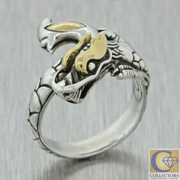 $495 John Hardy Naga Collection 925 Sterling Silver 18k Yellow Gold Dragon Ring