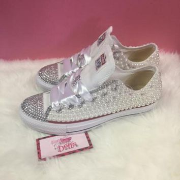 ONETOW couture pearl and crystals wedding prom custom converse