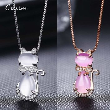 Lovely Cute Bow Crystal Opal Cat Pendant Necklace for Women Girls Jewelry white/Pink dropshipping