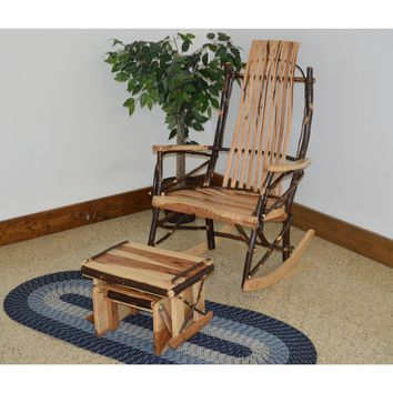A & L Furniture Co. Amish Bentwood Hickory 9-Slat Rocking Chair with Gliding Ottoman Set  - Ships FREE in 5-7 Business days