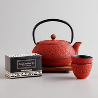Red Cast Iron Teapot Set
