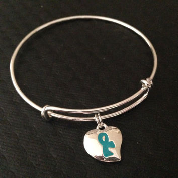 Teal Awareness Ribbon Expandable Charm Bracelet Adjustable Bangle Gift Ovarian Cancer Awareness (Other Awareness Ribbons Available)