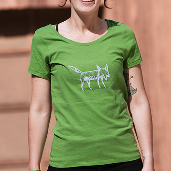 clever me Fox Shirt, Organic Cotton, Green Tshirt, Yoga Tee, S,M,L,XL