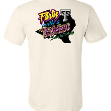 Official NCAA Texas Tech University Red Raiders TTU Masked Raider WRECK EM! Party With a Techsan Sorry for Rocking Unisex T-Shirt - TEXT1040-d