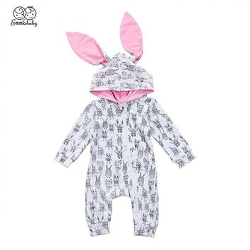 Cute Newborn Baby Bunny Ear 3D Hooded Romper Infant Boy Girl Rabbit Print Zipper Cotton Jumpsuit Playsuit Outfits Baby Clothes