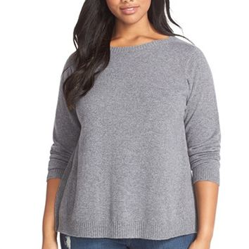 Plus Size Women's Eileen Fisher Cashmere Bateau Neck Sweater,