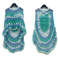Crochet Poncho Sea Foam Long Circular Asymmetric Shawl Pullover Crochet Pattern NOT a Finished Product Is a Digital File