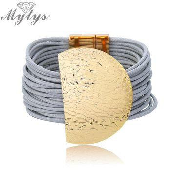 Mytys Fashion Grey Silver Rope Chain Leather Bracelet Wide Big Half Circle Metal Charm Hyperbole Bracelet for Women B1096