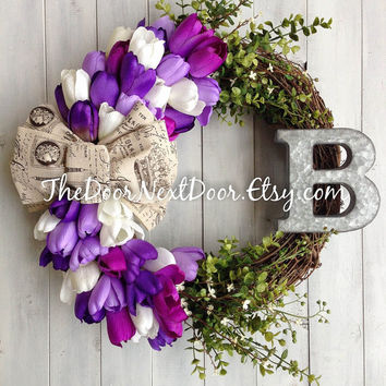 Spring Wreath - Easter Wreath - Tulip Wreath - Lavender Wreath - Metal Monogram Wreath