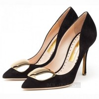 Indie Designs Rupert Sanderson Inspired Gold Pebble High Heel Pumps