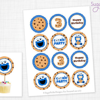 Cookie Cupcake Toppers, 3rd Birthday, Monster Birthday Toppers, Monster Toppers, Cookie Party Decorations - 2.25 inch