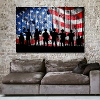 US Flag Soldier Silhouette Canvas Wall Art, USA Military, Soldiers Flag, USA Flag, Veterans