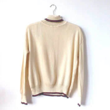 Vintage 1970s, Cream color , Polo Neck Jumper,Polo Knit Jumper ,Sweater knit