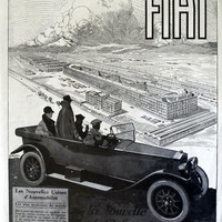 FIAT automobiles advertising, vintage poster, original art deco ad, car poster, French magazine page from 1924