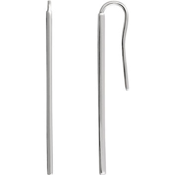 14 Karat White Gold Vertical Bar Drop/Dangle Earrings
