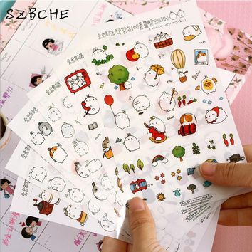 New Cute Lovely Rabbit 6 Sheet Paper Stickers for Diary Scrapbook Book decoration DIY Personalized Photo Album Cartoon stickers