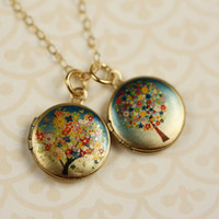 Small Flower Tree Lockets Colorful Miniature Pendants by FreshyFig