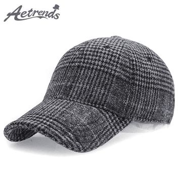 [AETRENDS] 2018 New Winter Plaid Woolen Baseball Cap Men Women Cotton Snapbacks Baseball Hats Z-6246