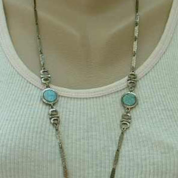Sarah Coventry Unnamed Faux Turquoise Disk Chain Necklace Vintage