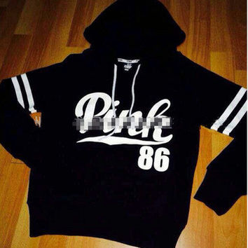 """"""" Pink 86 """" Printed Everyday Wear Comfortable Loose Casual Simple Victoria Secret Like Hoodie Pullover Jumper Blouse Swearshirt Shirt Top _ 9327"""