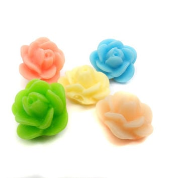 10 Resin Flower Cabochons, Supplies for Earrings Hair Pin Rings, Flat Back Flower 12 mm O5