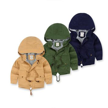 New 2016 Spring Jacket Children Causal Trench Thin Baby Boy Girls Coat Infant Clothing Kids Hoodie Jacket Snowsuit 3-10Y