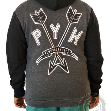 PYH Arrows - Heather / Black - Unisex Zip Up Hoodie
