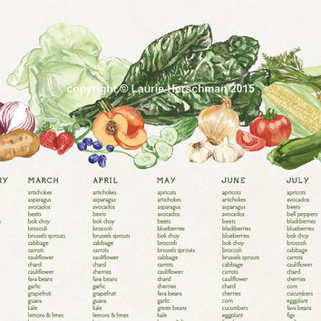 Seasonal produce chart, Bay Area / West Coast growing seasons, 11x17 poster