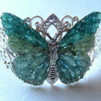 Butterfly Bracelet, Butterfly Cuff, Stained Glass Butterfly, Butterfly Jewelry, Filigree Butterfly Cuff, Green Butterfly