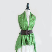 ON SALE Avocado Green Silk Embroidered Scarf Shawl Wrap Pareo Clothing Summer Fashion Skirt Bohemian Gypsy Large