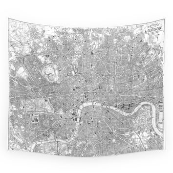 Society6 London Old Map Wall Tapestry