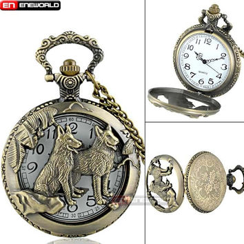 Wolves Cutout Demi-Hunter Bronze Quartz Pocket Watch