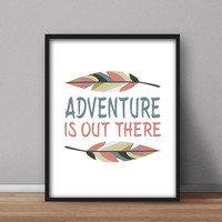 Instant Wall Art Printable 'Adventure is out there' peach blue grey feathers, nursery, home & office instant quote, digital downloads