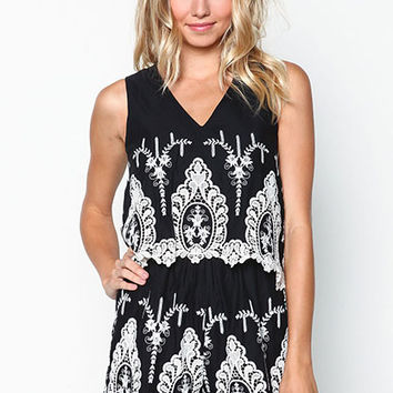 BLACK EMBROIDERED TIERED ROMPER
