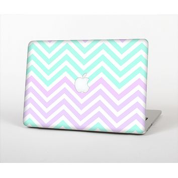 The Light Teal & Purple Sharp Chevron Skin Set for the Apple MacBook Air 11""