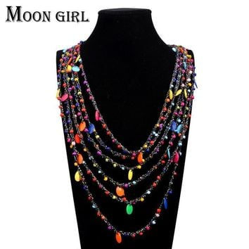 Women 8 color Bohemia Style Beads Multi Strand Necklace