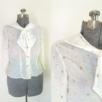 Sheer White and Gold Blouse // 1940s 1950s Ascot Bow Rhinestone Button Front