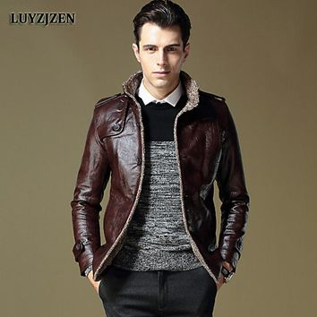 Faux Leather Jacket Men 2017 Autumn Winter Casual Thick Warm Coat Men's Motorcycle Outwear PU Jackets Plus Size Homme 953