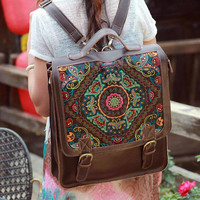 Women's Handmade Genuine Leather Embroidered Bag Laptop Backpack