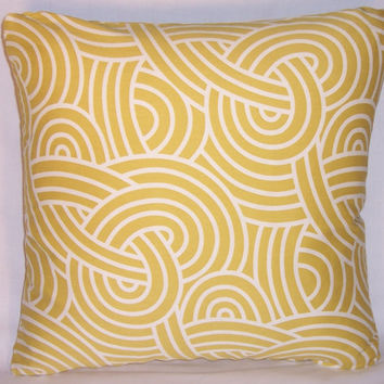 "Gold Swirling Maze Throw Pillow Yellow Mustard  P. Kaufmann Theo Citrine 17"" Cotton Square Insert and Cover Ready Ship"