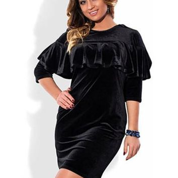 Cape Velvet Plus Size Women's Bodycon Dress