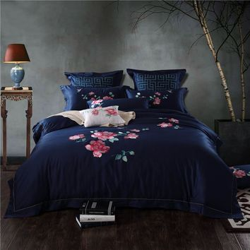 Luxury Egyptian Cotton Purple Blue Embroidered Floral Bedding sets Queen King size 4/6/9Pcs Duvet cover Bed sheet set Pillowcase