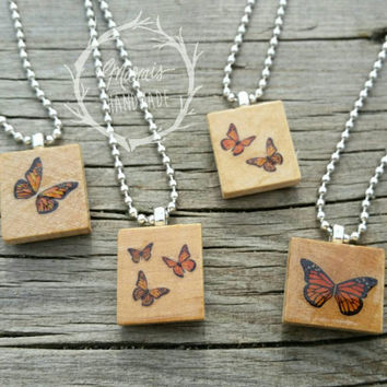 butterfly necklace - monarch butterfly jewelry made using Scrabble tiles!