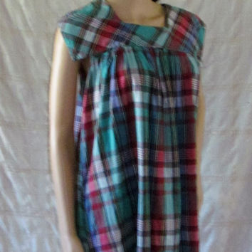 70's Style 100% Cotton Dress!  Size Large, Women's/Misses, Summer/Spring House Dress, Hippie Casual, Plaid/Checkered Print, Sun Dress