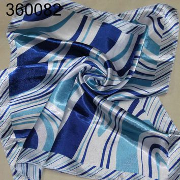 C Women Fashion Office Ladies Silk Satin Feel Scarves Small Square Head Shawl 82