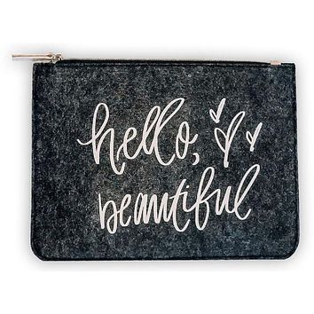 Hello Beautiful Felt Pouch with Peach/Pink Design