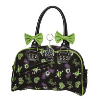 Banned Spooky Creepville Zombie Horror Love Goth Emo Bowler Purse with keychain