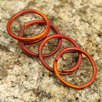 Sturdy Copper Stacked & Wrap Rings, Set of 4,12 Gauge Thickness, Fire Scale Rustic Color Stacking Rings