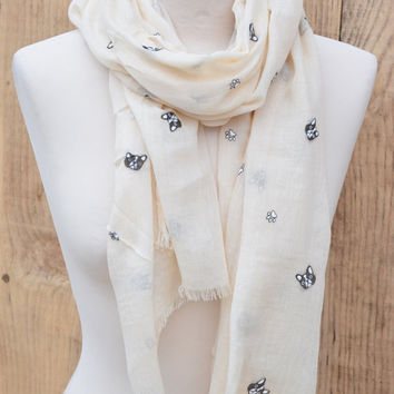 Modern Dog Print Scarf in Taupe Women Scarf with Dog Print, Animal Print Wrap, Women's Scarf Everyday Shawl Long Women's Scarf Gift for Her