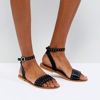ASOS FREJA Leather Studded Flat Sandals at asos.com